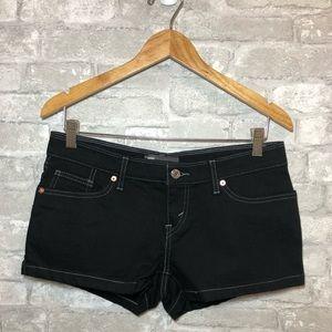Levis black denim shorts, contrast stitchi…